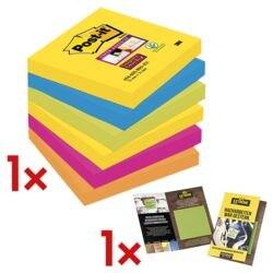 Post-it 7,6 x 7,6 cm Super Sticky »Rio de Janeiro« Haftnotizblock, 540 Blatt gesamt, farbig sortiert 6546SR inkl. Musterkarte »Extreme Notes 76x76mm« (10 Blatt)