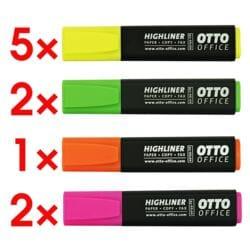 10x OTTO Office Textmarker Highliner, Keilspitze, 5 x gelb / je 2x grün und rosa / 1x orange