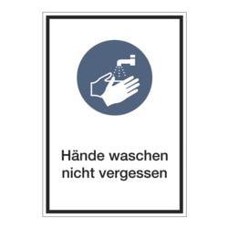 Aufkleber / Hinweisschild »Hände waschen nicht vergessen« 13 x 18,5 cm, 10 Stück