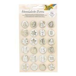 folia 24 Adventskalender-Buttons »Perlmutt«