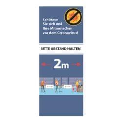 Roll-Up-Trennwand mit Info-Motiv »Bitte Abstand halten! 2 m - Comic Warteschlange Geschäft« 86 x 30 x 208 cm blau / weiß