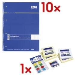 10x OTTO Office Collegeblock A4 kariert, 80 Blatt inkl. Haftnotizbox