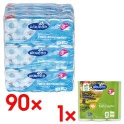 alouette Toilettenpapier 3-lagig, weiß - 90 Rollen (9 Pack à 10 Rollen) inkl. Küchenrollen (halbe Blätter) »Recycling« 3-lagig