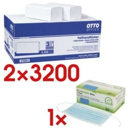 2x Papierhandtücher OTTO Office 2-lagig, naturweiß, 25 cm x 23 cm aus Tissue mit Z-Falzung - 6400 Blatt gesamt inkl. 50er-Pack medizinische Masken Typ II 3-lagiges Vlies