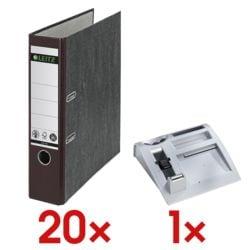 20x LEITZ Ordner A4 »1080 CO2 neutral« breit, Wolkenmarmor mit farbigem Rücken inkl. Schreibtisch-Organizer