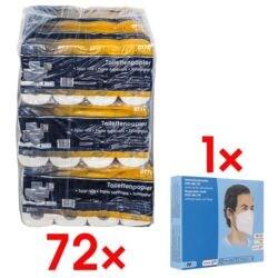 OTTO Office Premium Toilettenpapier »Premium« 4-lagig, hochweiß - 72 Rollen (9 Pack à 8 Rollen) inkl. Atemschutzmaske FFP2