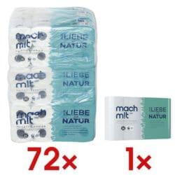 wepa Mach mit… Toilettenpapier Mach mit...! 3-lagig, hochweiß - 72 Rollen (9 Pack à 8 Rollen) inkl. Küchenrollen