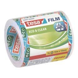 tesa Klebeband Eco & Clear, transparent/stark klebend, 3 Stück, 15 mm/10 m