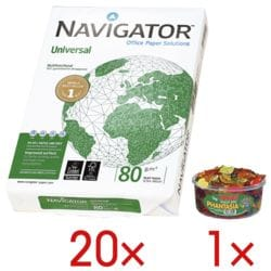 20x Multifunktionales Druckerpapier A4 Navigator Universal - 10000 Blatt gesamt, 80 g/m² inkl. Fruchtgummi »Phantasia«