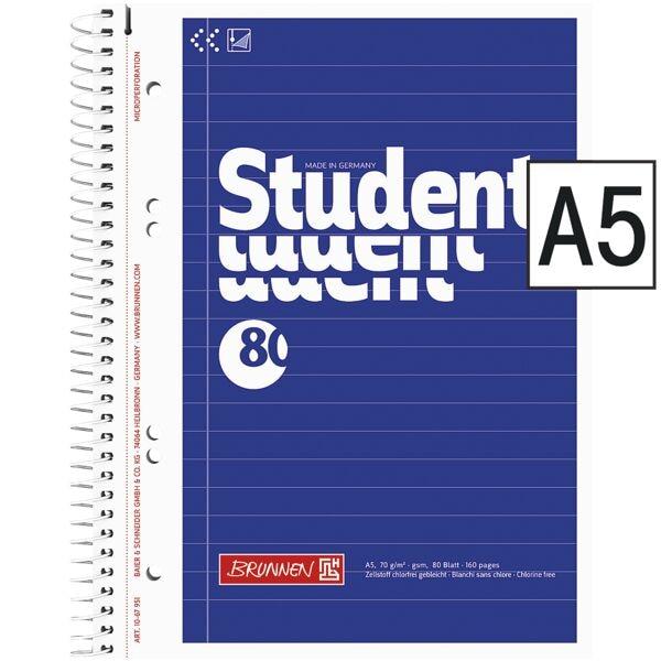Brunnen Collegeblock Student A5 liniert, 80 Blatt