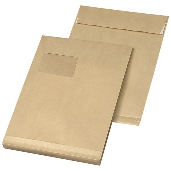 Mailmedia 100 Faltentaschen mit Steh-/Klotzboden, C4 130 g/m² mit Fenster