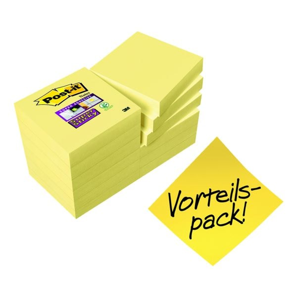 9+3 Post-it Super Sticky Haftnotizblock Notes 4,8 x 4,8 cm, 1080 Blatt gesamt, gelb