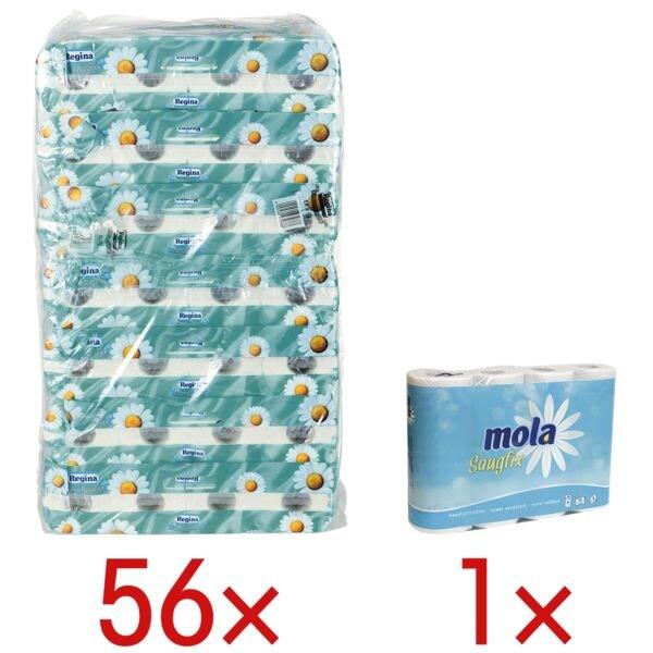 Regina Toilettenpapier Kamille 3-lagig, weiß - 56 Rollen (7 Pack à 8 Rollen) inkl. Küchenrollen 3-lagig, 4 Rollen