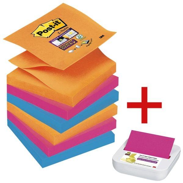 Post-it Super Sticky Z-Notes, 540 Blatt gesamt inkl. Musterspender »Z-Notes«