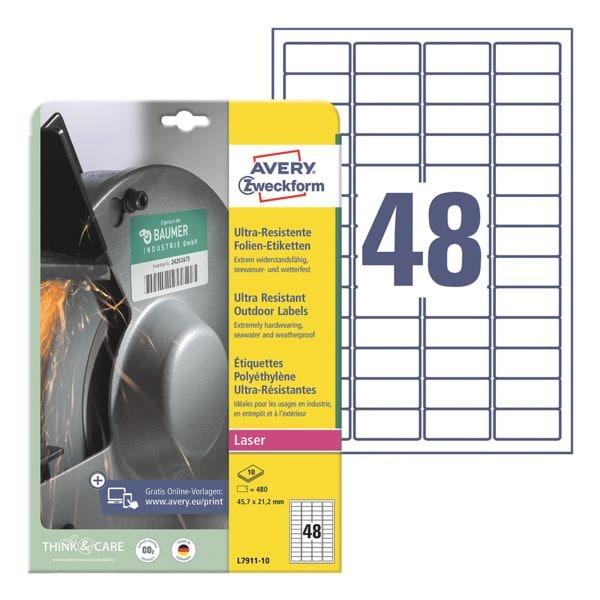 Avery Zweckform Ultra-Resistente 45,7x21,2 mm Folien-Etiketten L7911-10