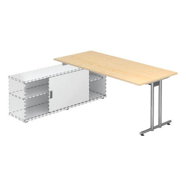 HAMMERBACHER Schreibtisch »Alicante« 180 cm, C-Fuß silberfarben