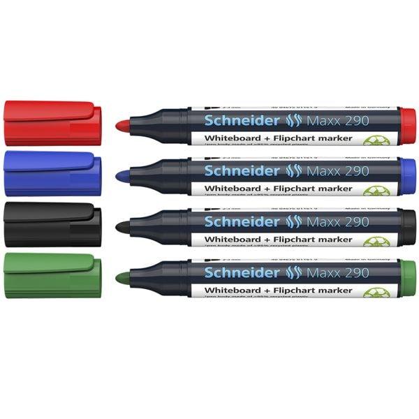 Schneider 4er-Etui Whiteboard & Flipchart Marker »Maxx 290«
