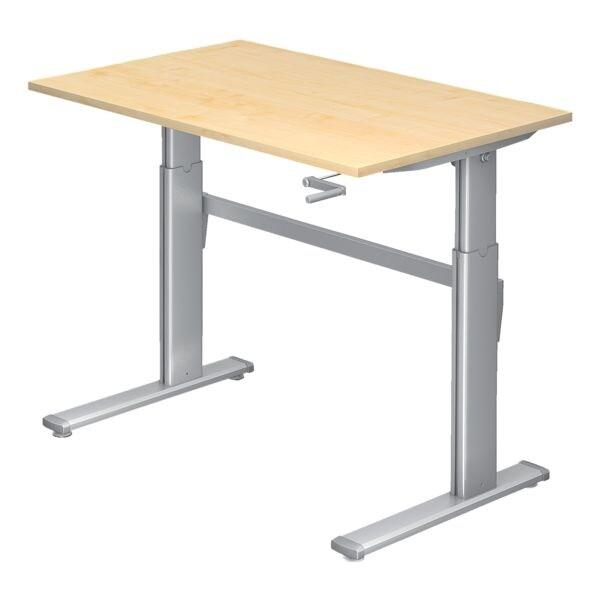 HAMMERBACHER Schreibtisch höhenverstellbar (manuell) »Upper Desk« 120 cm, C-Fuß alufarben