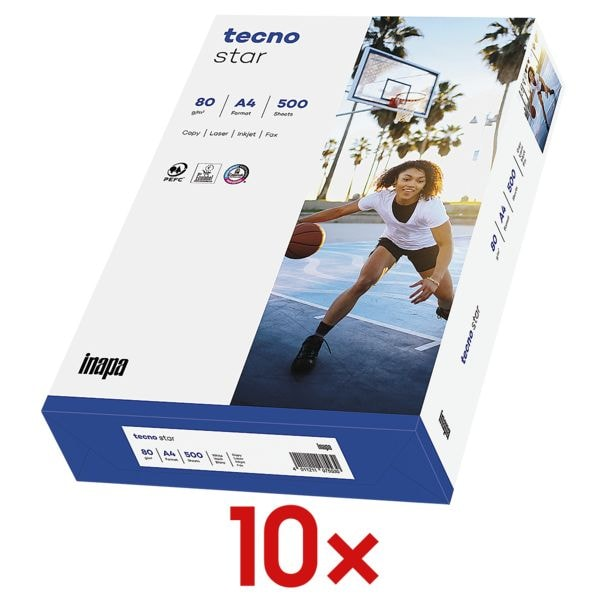 10x Kopierpapier A4 Inapa tecno Star - 5000 Blatt gesamt, 80g/qm