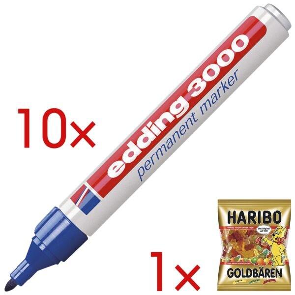 10x edding Permanent Marker 3000 - Rundspitze, Strichstärke 1,5  - 3,0 mm (XB) inkl. Fruchtgummi »Goldbären«
