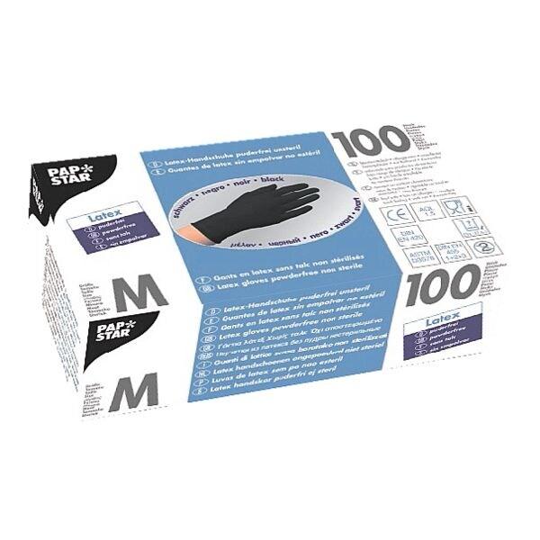 100 Papstar Einmalhandschuhe Latex, Größe M schwarz