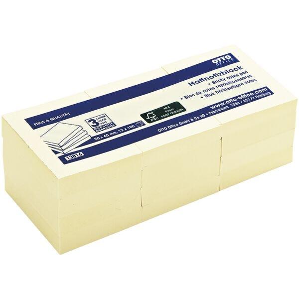 12x OTTO Office Haftnotizblock 5 x 4 cm, 1200 Blatt gesamt, gelb