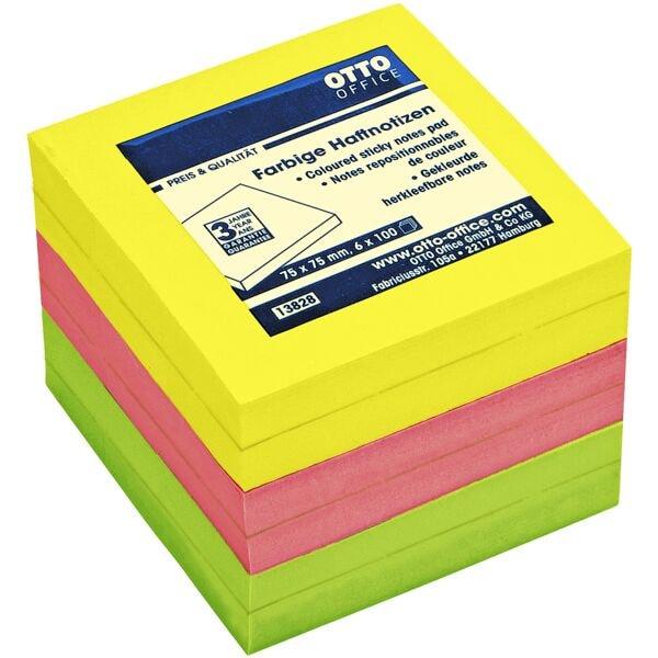 6x OTTO Office Haftnotizblock 7,5 x 7,5 cm, 600 Blatt gesamt, farbig sortiert