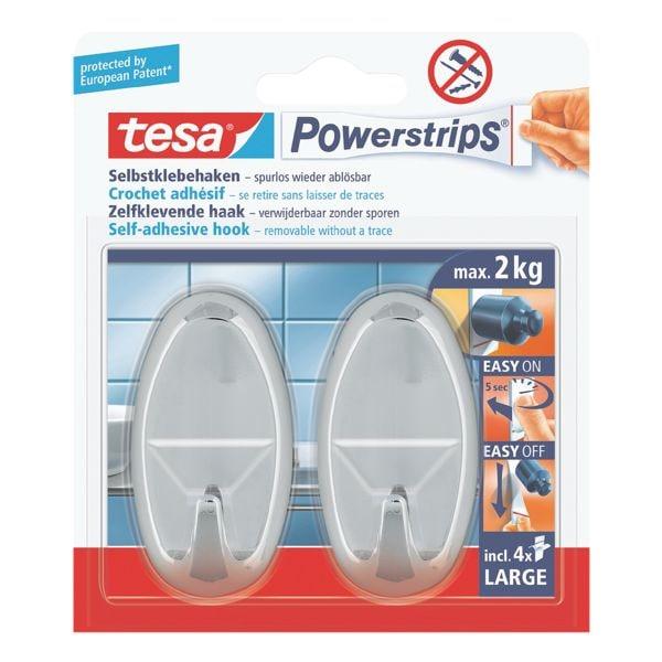 tesa Powerstrips »Haken large« oval chromfarben 58050