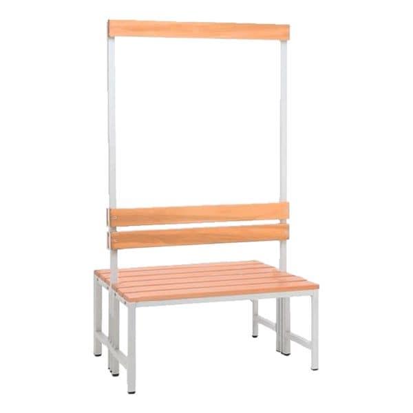 Doppel-Sitzbank 1 m, mit Hakenleiste-Garderobe