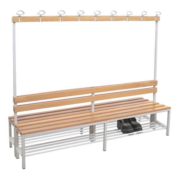 Doppel-Sitzbank 2 m, mit Hakenleiste-Garderobe und Schuhrost