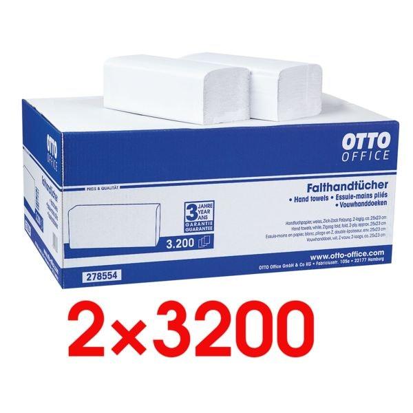 2x Papierhandtücher OTTO Office 2-lagig, naturweiß, 25 cm x 23 cm aus Tissue mit Z-Falzung - 6400 Blatt gesamt