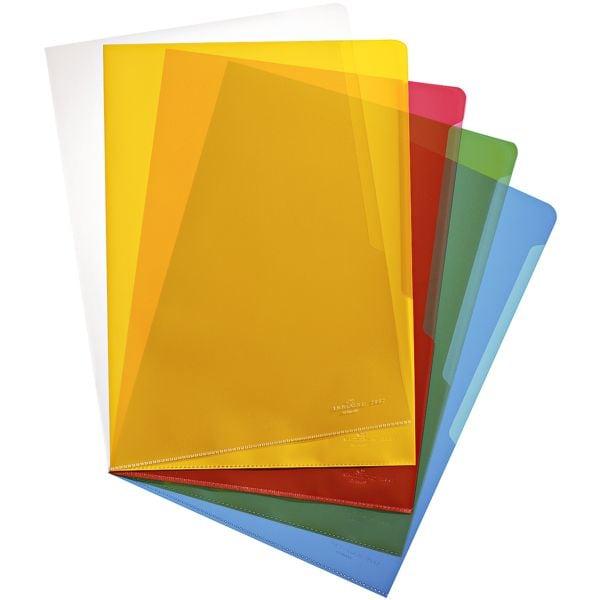 Durable 100er-Pack Sichthüllen A4 farbig genarbt »2337« (5 Farben zu je 20 Stück)