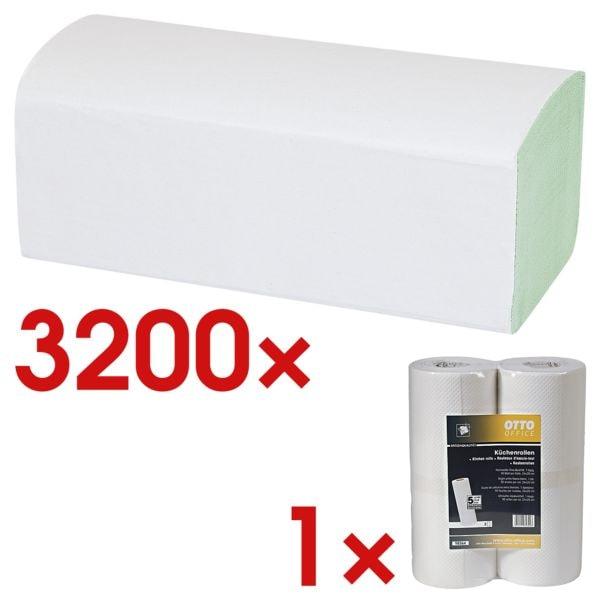 Papierhandtücher OTTO Office 2-lagig, grün, 25 cm x 23 cm aus Recyclingpapier mit Z-Falzung - 3200 Blatt gesamt inkl. Küchenrollen 1-lagig Vliesstoff, 2 Rollen
