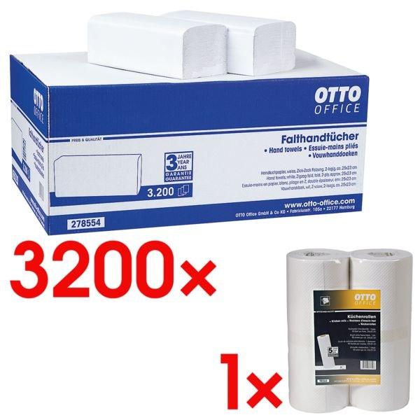 Papierhandtücher OTTO Office 2-lagig, naturweiß, 25 cm x 23 cm aus Tissue mit Z-Falzung - 3200 Blatt gesamt inkl. Küchenrollen 1-lagig Vliesstoff, 2 Rollen