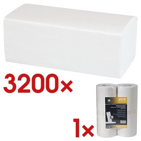 Papierhandtücher OTTO Office 2-lagig, hochweiß, 25 cm x 23 cm aus Tissue mit Z-Falzung - 3200 Blatt gesamt inkl. Küchenrollen 1-lagig Vliesstoff, 2 Rollen