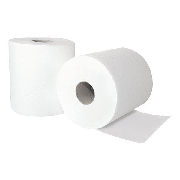 Handtuchrolle WIPEX Handtuchrolle Innenabrollung 2-lagig, hochweiß, 33,6 cm x 20,3 cm aus Zellstoff - 2700 Blatt gesamt