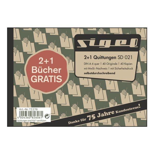 Sigel Formularbuch »SD 021 - Quittung mit MwSt.« 2+1 Aktion