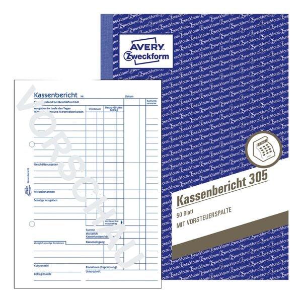 Avery Zweckform 5er-Pack Formularbuch »Kassenbericht 305«