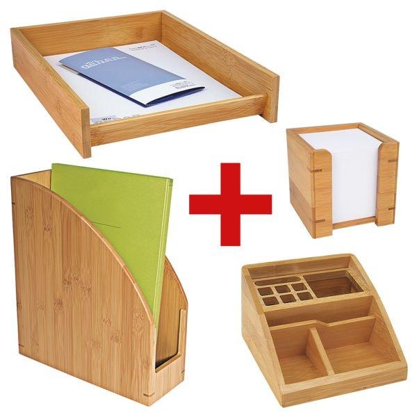 Wedo Schreibtisch-Set »Bambus«, bestehend aus Stehsammler, Butler, Zettelbox und Briefablage