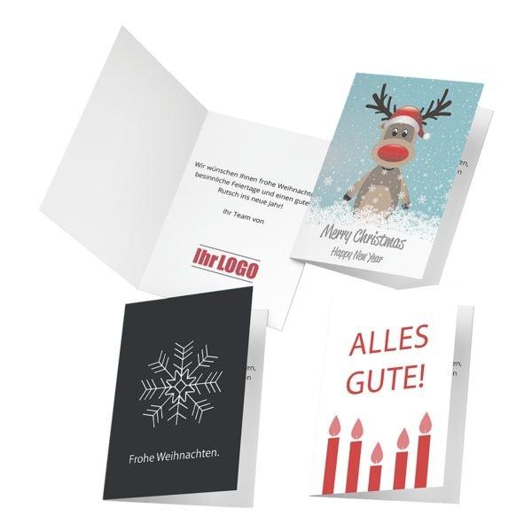 Weihnachtskarten mit Ihrem Logo - A6 hoch