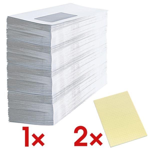 Briefumschläge, DIN lang 75 g/m² mit Fenster, selbstklebend - 1000 Stück inkl. 2x Haftnotizblock 100 x 150 mm, kariert