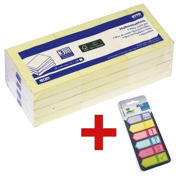 OTTO Office Haftnotizblock 5 x 4 cm, 1200 Blatt gesamt, pastellgelb inkl. Haftmarker 150 Blatt gesamt, Papier, 50 x 18 mm