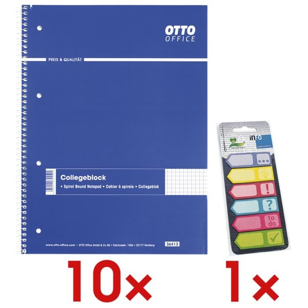 10x OTTO Office Collegeblock A4 kariert, 80 Blatt inkl. Haftmarker 150 Blatt gesamt, Papier, 50 x 18 mm