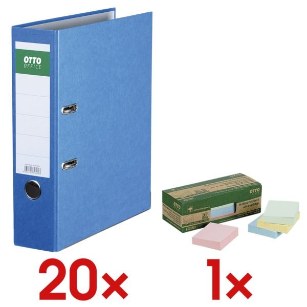20x Ordner A4 OTTO Office Nature Color Nature breit, einfarbig inkl. Haftnotizblock »Recycling Notes Farbmix« 50 x 40 mm, 12 Stück