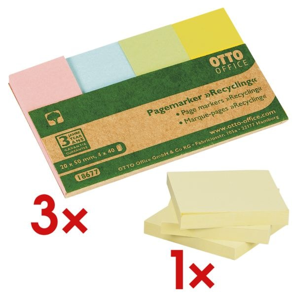 3x OTTO Office Nature Recycling 20 x 50 mm, Papier inkl. 3-er Pack Haftnotizblock »Recycling Notes« 75 x 75 mm