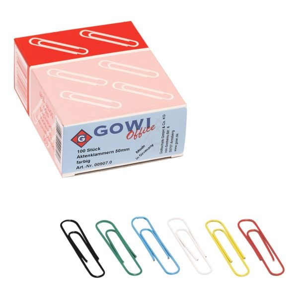 GOWI Office Aktenklammern 50mm, mehrfarbig, 100 Stück