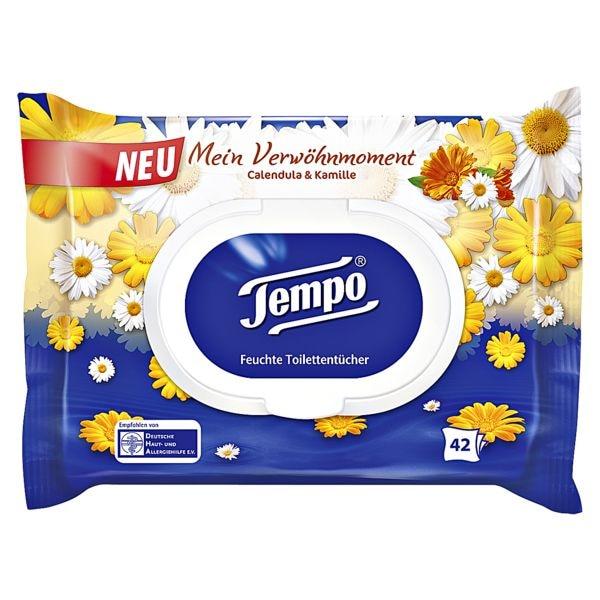 Tempo Feuchtes Toilettenpapier Mein Verwöhnmoment Calendula & Kamille 1-lagig, weiß - 42 Tücher