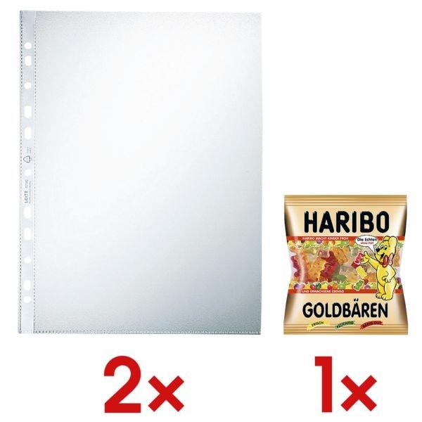 2x LEITZ Prospekthülle 4790 A4 genarbt, oben offen - 100 Stück inkl. Fruchtgummi »Goldbären«