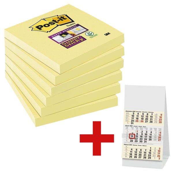 6x Post-it Super Sticky Haftnotizblock Notes 7,6 x 7,6 cm, 540 Blatt gesamt, gelb inkl. Tischkalender 2021