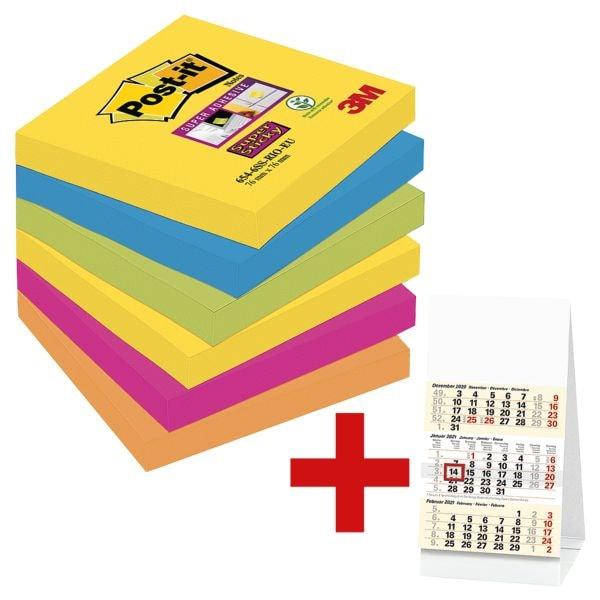 6x Post-it 7,6 x 7,6 cm Super Sticky »Rio de Janeiro«, 540 Blatt gesamt, farbig sortiert 6546SR inkl. Tischkalender 2020